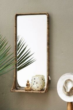 Rustic Rattan Hall Mirror L