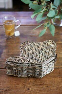 Rustic Rattan Teapot Tea Box