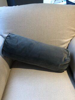 Velvet Roll Pillow slate grey 55x19