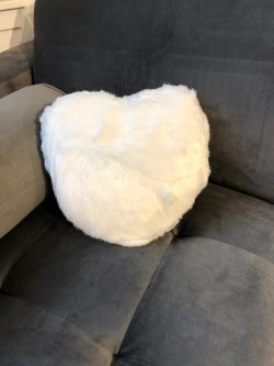 Artic Fox Faux Fur Heart Pillow