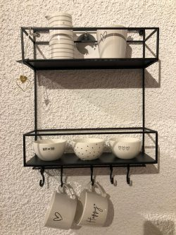 Bastion Metal rack black two layers w.hooks 35x12x46