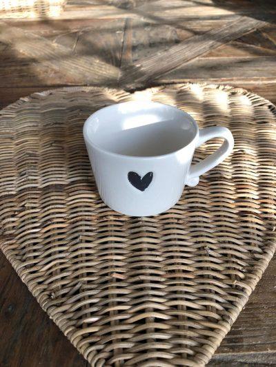 Bastion Mug small white/heart black 8.5x7.2x6