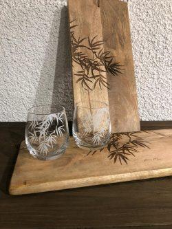 Tropical Palm Leaf Glass